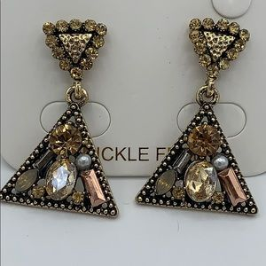 NEW Dangle Triangle Earrings Gold w/ mix crystals